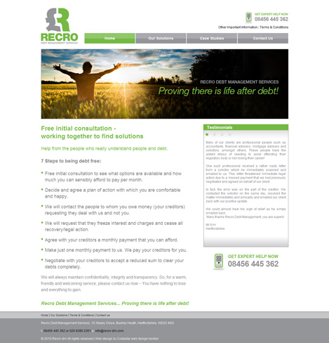 Debt management website design