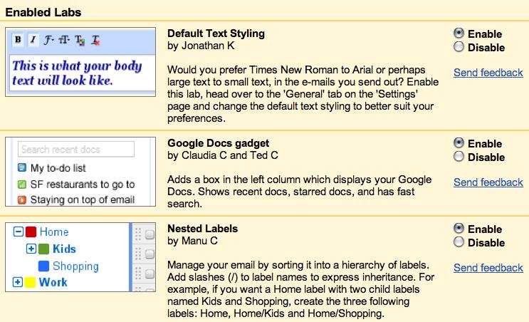 Google Mail Labs Screenshot