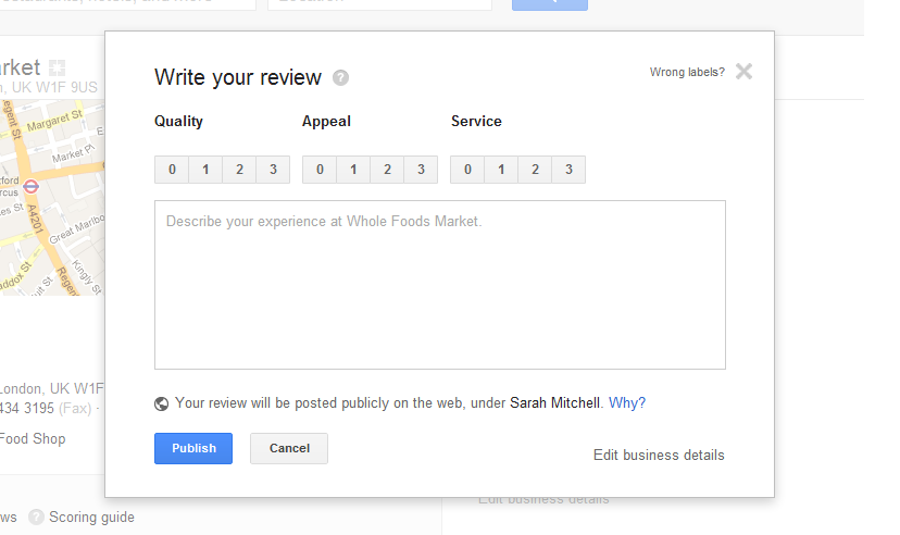 write google local review