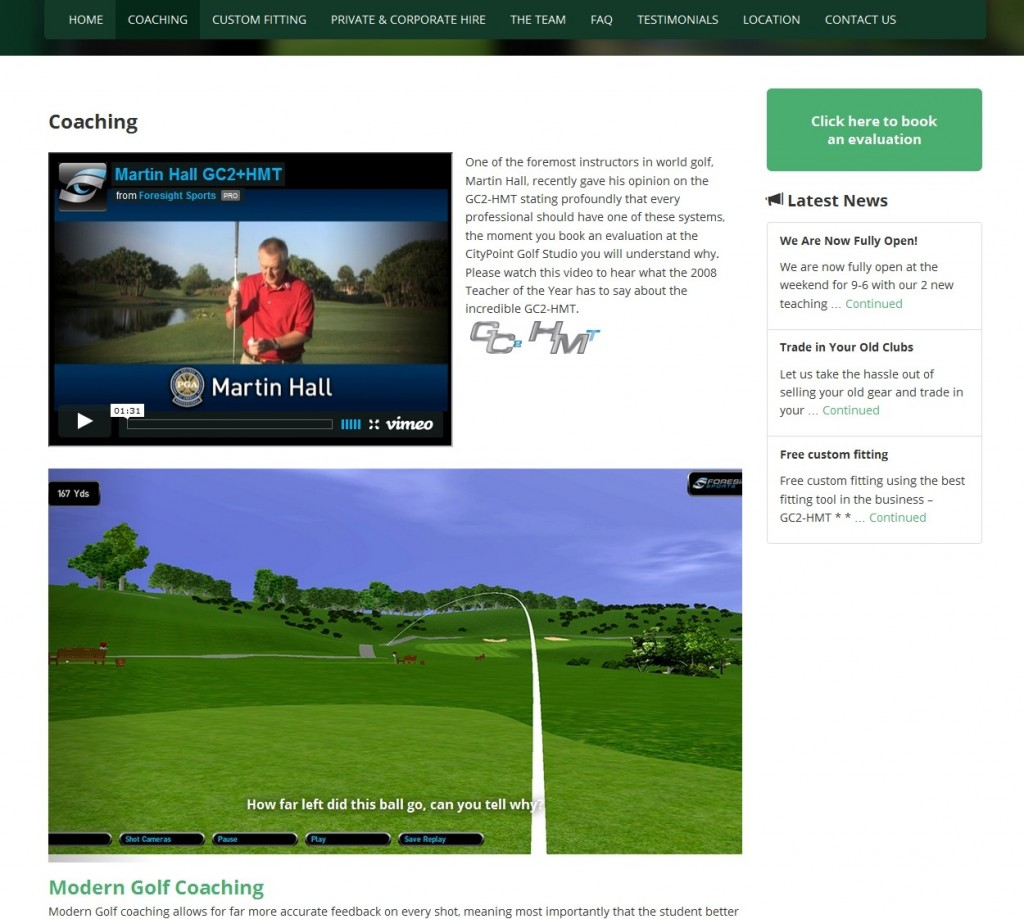 Citypoint Golf Studio Website Design Coaching