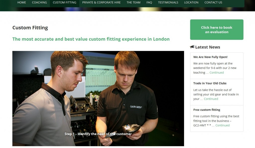 Citypoint Golf Studio Website Design Fitting