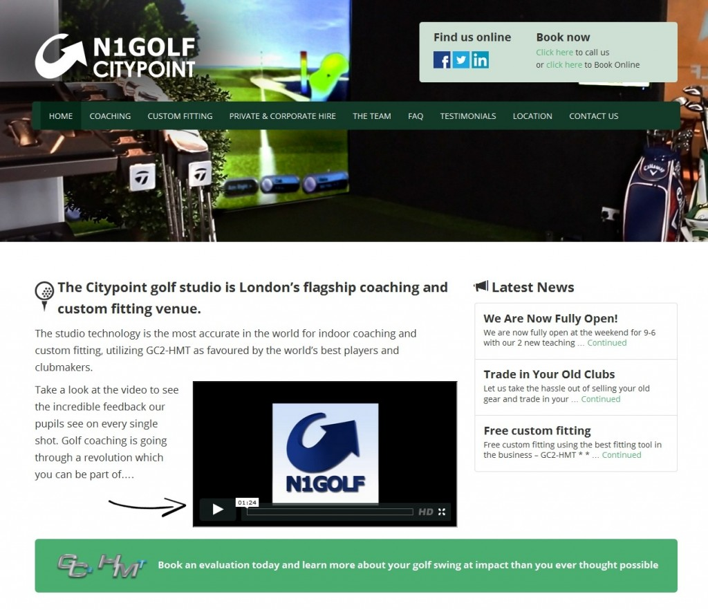 Citypoint Golf Studio Website Design