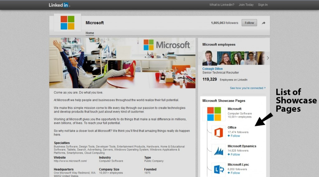 LinkedIn Showcase Page Microsoft