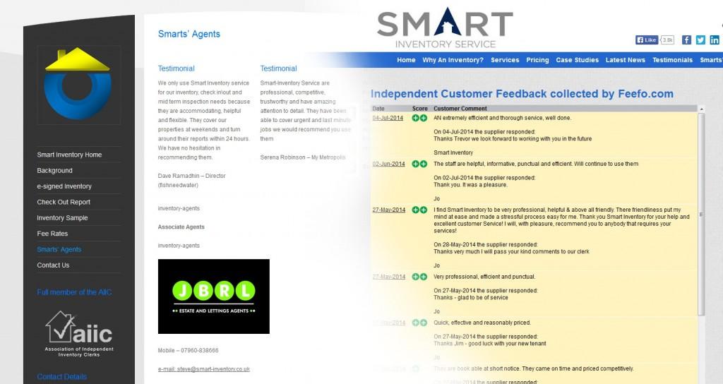 Smart Inventory Website Redesign, Feefo Testimonials