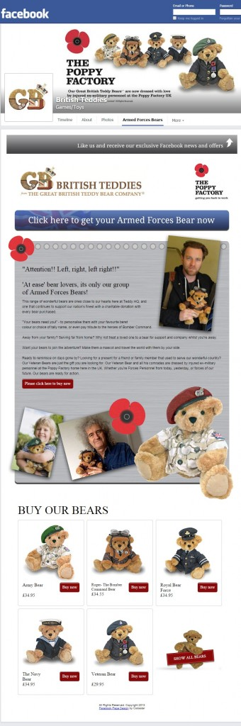 British Teddies Facebook tab design Codastar