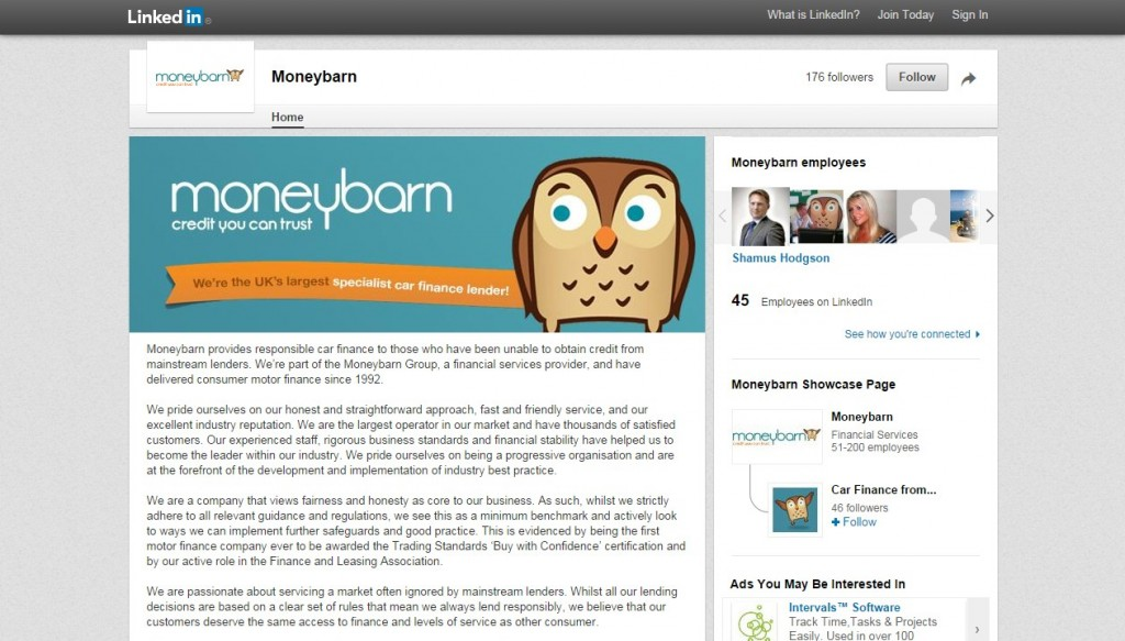 Moneybarn LinkedIn Business Page Design Codastar