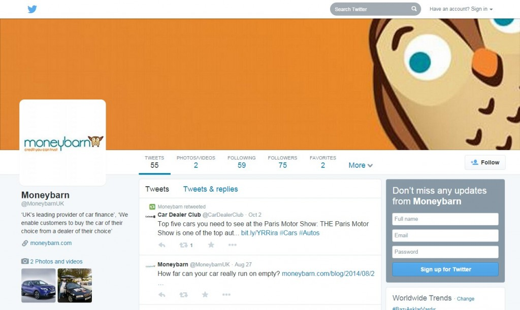 Moneybarn Twitter Profile Design Codastar