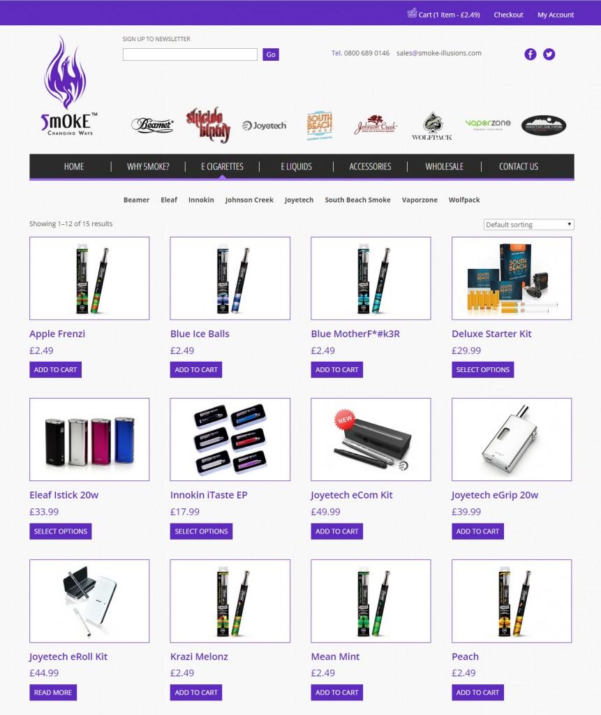 Smoke Illusions e-commerce website design Codastar
